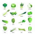 Green vegetables flat icons collection vector image vector image