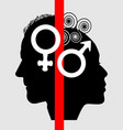 half face profile of a woman and a man symbols vector image