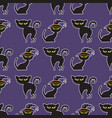halloween black cat seamless pattern vector image