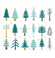 hand drawing winter background with fir tree vector image vector image
