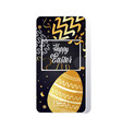 happy easter template with square frame gold vector image vector image