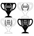 happy fathers day trophy graphics black vector image