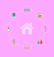 home interior icons collection vector image vector image