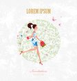 Invitation card with pretty girl is walking with vector image