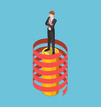 isometric businessman standing on coin stack with vector image