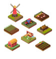 isometric farms objects vector image