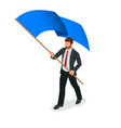 isometric people man with blue flag isolated on vector image vector image