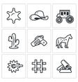 justice in wild west icons set vector image