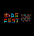 kids fest style alphabet funny colored font vector image