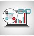 laptop graphs language code link web vector image