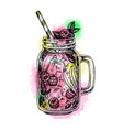 lemonade with raspberry in mason jar vector image vector image