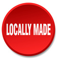 locally made red round flat isolated push button vector image vector image
