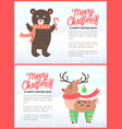 merry christmas holiday banners with bear and deer vector image vector image