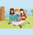 multi-ethnic college students studying outdoor vector image vector image