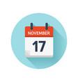 november 17 flat daily calendar icon date vector image vector image