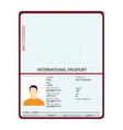 passport with biometric data identification vector image vector image