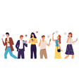 people group with smartphones men and women vector image vector image