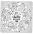 Round frame Travel cartoon objects symbols and vector image