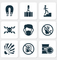safety icons set with keep door closed overhead vector image vector image