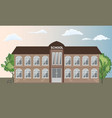 school building front view exterior with trees vector image