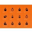Science flask icons on orange background
