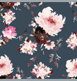 seamless watercolor pattern with peonies vector image vector image