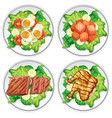 set of different salad vector image vector image