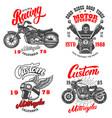 set racer emblems winged motorcycle helmet vector image
