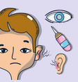 sickness otitis and conjunctivitis with medical vector image vector image