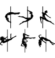 Six pole dancers vector image