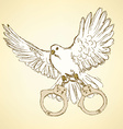 Sketch dove with handcuffs in vintage style vector image vector image