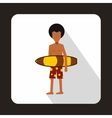 Surfer with surfboard icon flat style vector image