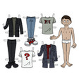 the paper doll boy vector image vector image