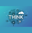 thin line flat design banner for think web page vector image