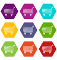 trolley icons set 9 vector image vector image