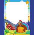 turkey bird holding pumpkin frame 2 vector image vector image
