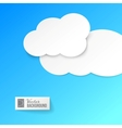 White paper clouds over blue vector image
