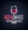 wine glass neon banner red and white wine vintage vector image