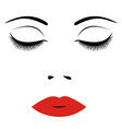 woman face with red lips and closed eyes for vector image vector image