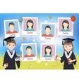 Yearbook with graduate schoolboy and schoolgirl vector image vector image