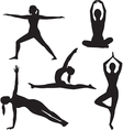 Yoga woman silhouette collection vector image vector image