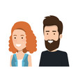 young couple character standing people vector image
