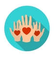 Hands up with hearts icon in flat style isolated vector image
