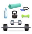realistic gym icon set vector image