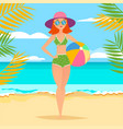 young athletic girl with ball on the beach vector image