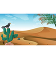 A bird above the cactus plant at the desert vector image vector image