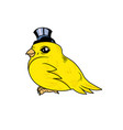 a cute canary bird with a top hat vector image vector image