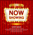 a retro theater sign with a red curtain background vector image vector image
