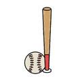 baseball bat and ball equipment isolated icon vector image vector image