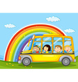 Boys and girls riding in school bus vector image vector image